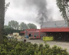 Smoke can be seen coming from the former printworks Pic: Jennifer Wignall