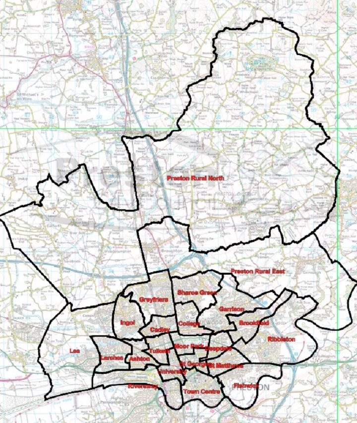 The current political boundaries in Preston