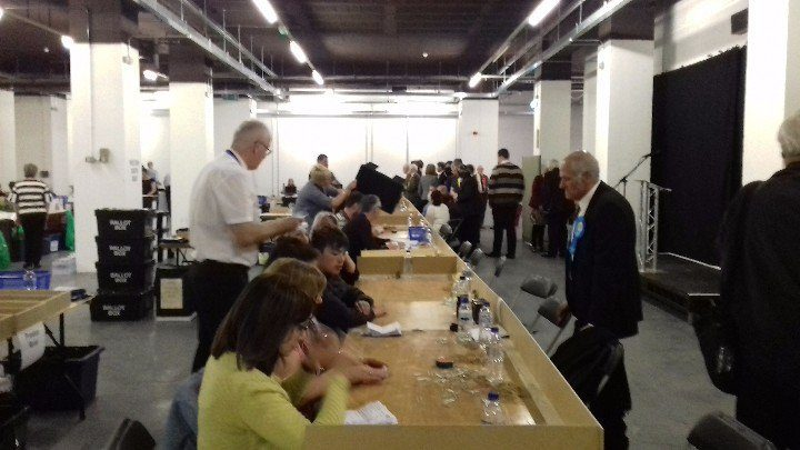 Counting at the 2017 local elections in Preston for Lancashire County Council