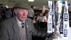 Trevor Hemmings with the play-off final trophy after PNE returned to the Championship in 2015