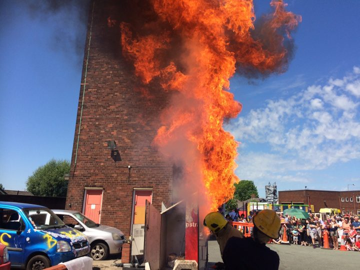 Chip pan fire demonstration at the Preston Fire Station open day