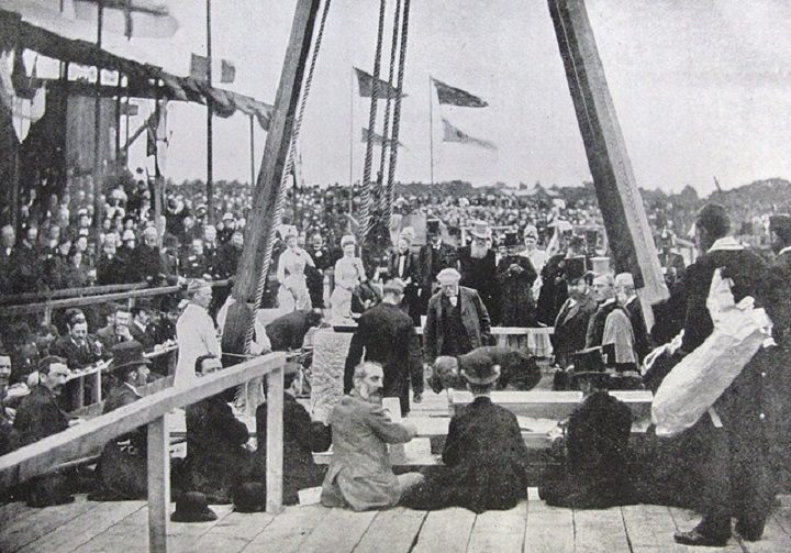 The foundation stone being laid at the opening of the Docks