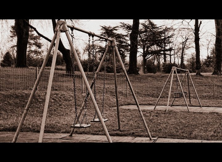 Swings in Grange Park - seen better days Pic: Joseph Hall