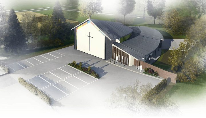 An overhead view of the church at Lea