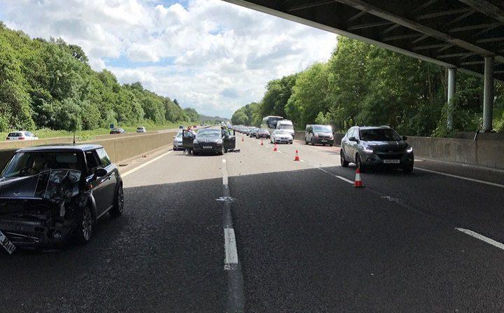 The scene of the M6 northbound crash Pic: LancsRoadPolice