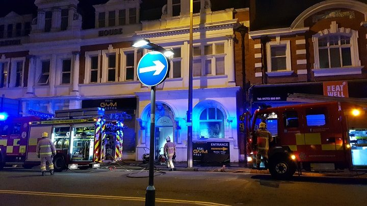Fire crews in Preston city centre dealing with the Real Gym fire Pic: Christopher Ridley