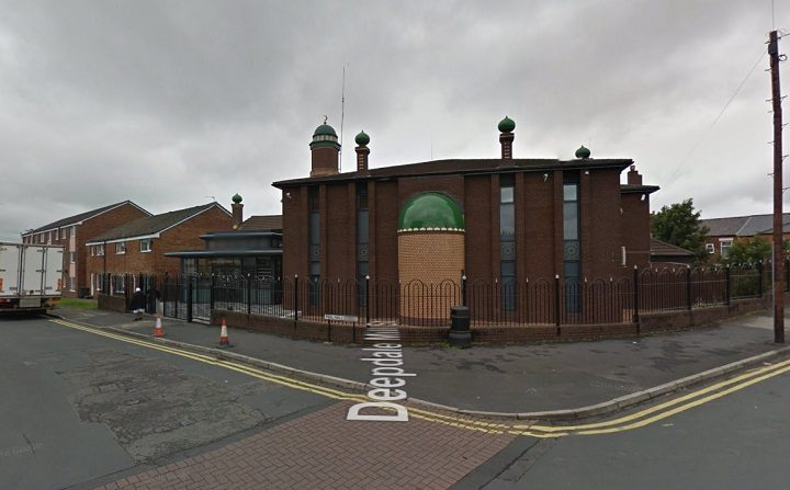 The gun was pointed at a group of people near the mosque in Peel Hall Street Pic: Google