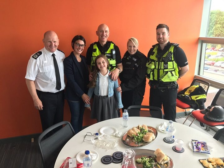 Chief Constable of Durham Constabulary Mike Barton, Sarah Sutcliffe, PC Nick Cross, Poppy Sutcliffe (front), PCSO Lisa Hall and Sgt Luke Newman