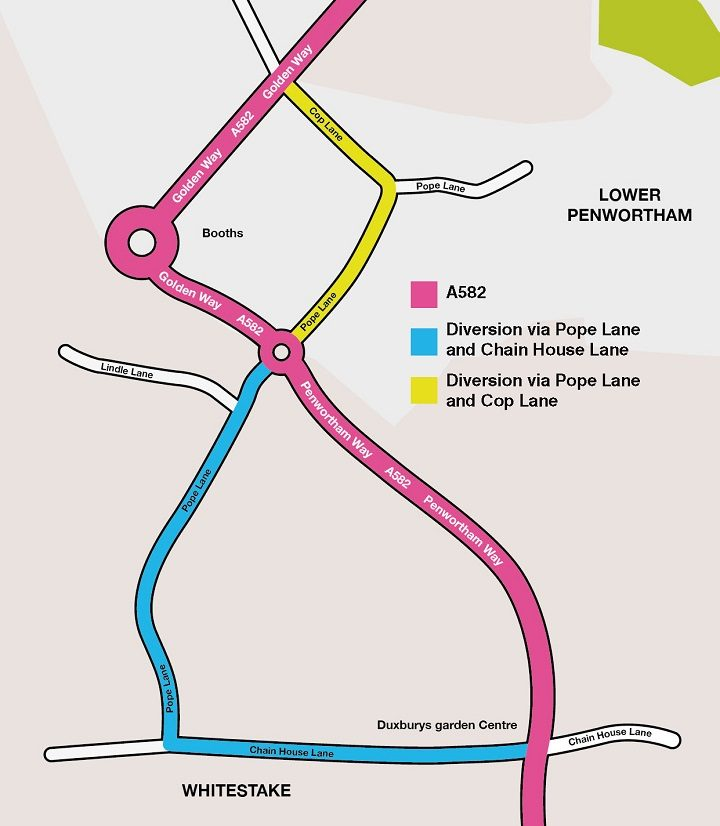 The diversion routes for Pope Lane