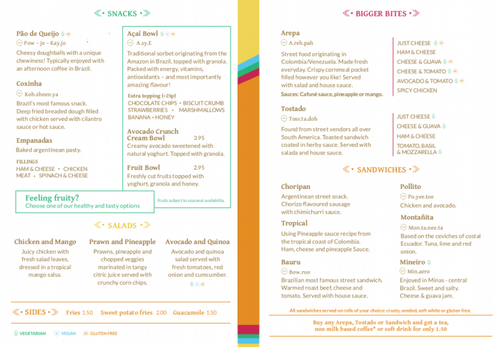 An example menu for Cafeune