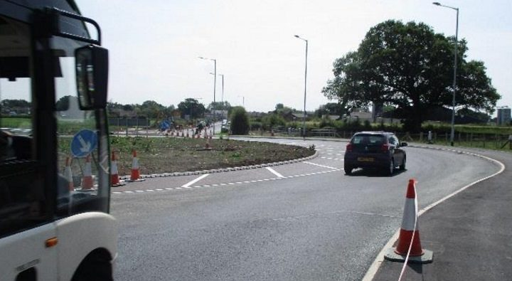 The new roundabout on the A6