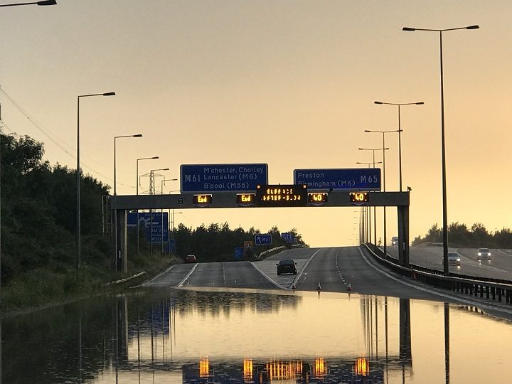 Picture showing the westbound carriageway of the M65 Pic: Lancashire Road Police