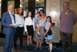 Cllr Peter Rankin, Leader of PCC; Mrs Ashworth (Ben's mum); Louise Ashworth and three daughters; Graham Dixon who set up the petition.