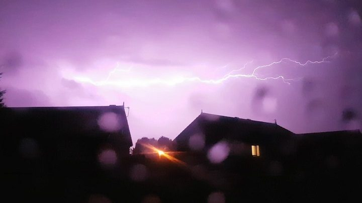 Purple sky and lightning over Ribbleton