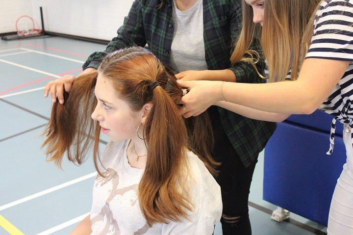 Rosie's long locks before the hair cutting began