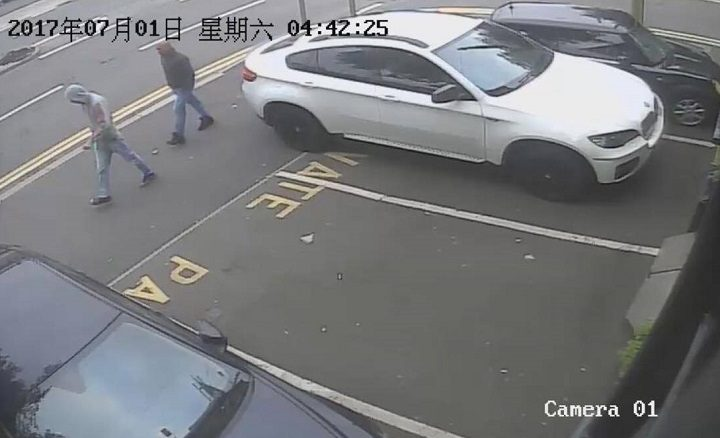 Two people seen on CCTV leaving the scene