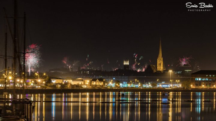 Fireworks over Preston skyline from the city's docks