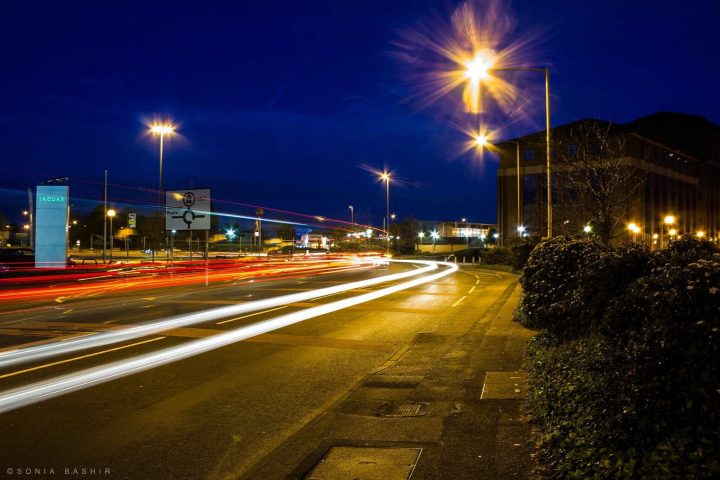 Car lights at the Docks