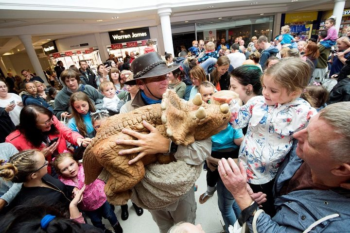 Baby dinosaurs mobbed by the crowds