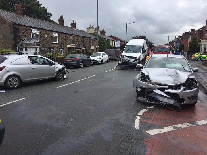 The scene in Station Road, Bamber Bridge Pic: LancsRoadPolice