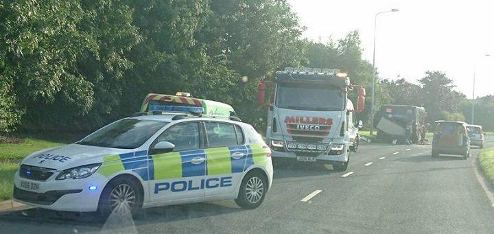 View of the collision scene in Cottam