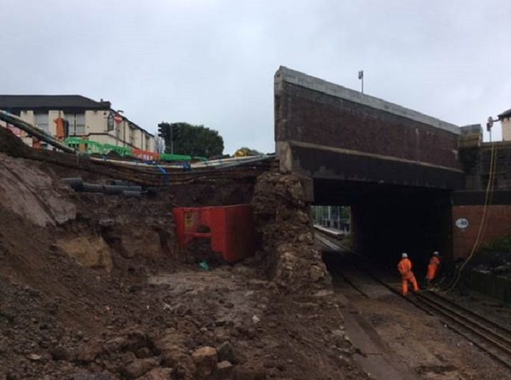 Damage to the railway bridge at Moses Gate