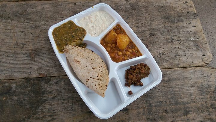 This is what the homeless are given to eat - freshly made vegetable curries