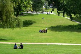 People enjoying the sunshine in Winckley Square Pic: Tony Worrall