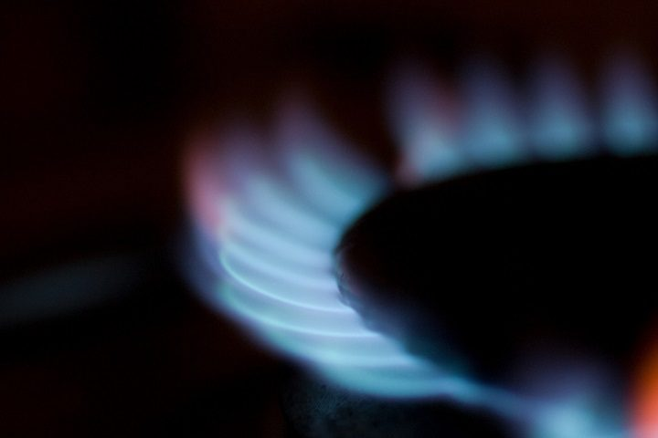 A gas hob lit up Pic: Tom Page