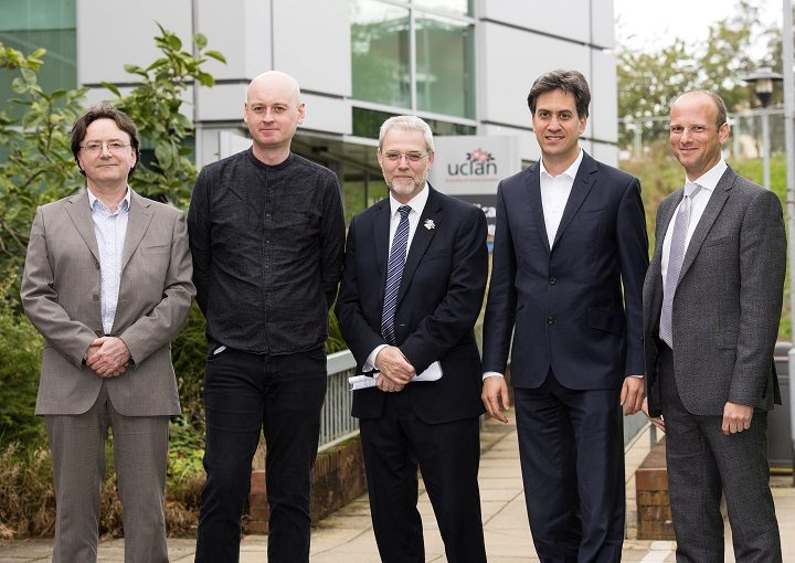 From l-r Julian Manley, UCLan Research Fellow; Councillor Matthew Brown, Cabinet Member for social justice, inclusion and policy at Preston City Council; UCLan Vice-Chancellor Professor Mike Thomas; Ed Miliband MP; and Joel Arber, UCLan Pro Vice-Chancellor of External Relations.