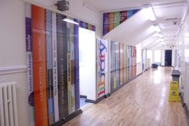One of the corridors with the new signage inside Moor Park School