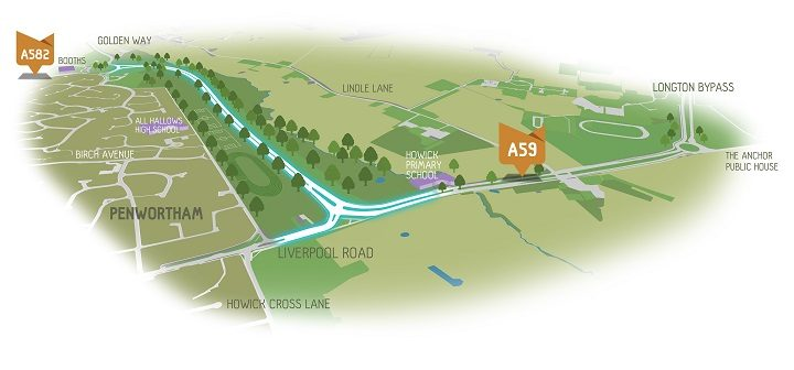 An artist impression showing the route of the Penwortham Bypass