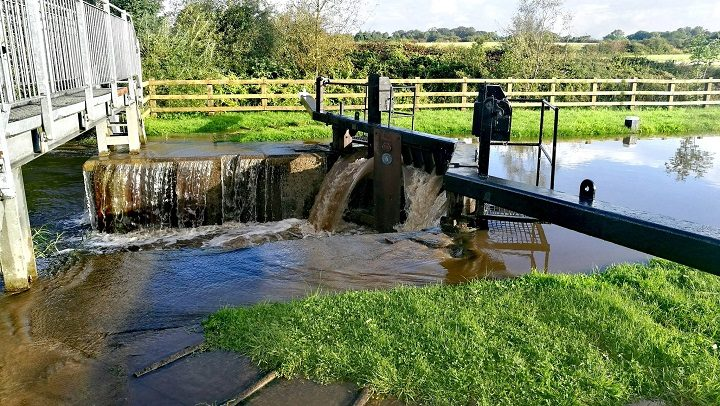 Water flowing fast into the Ribble Link Pic: Benny Mc'Nally/Preston Chatterbox