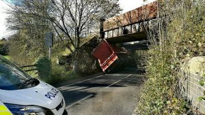 The skip lorry in Lea Road with police in attendance Pic: Benny Mc'Nally/Preston Chatterbox