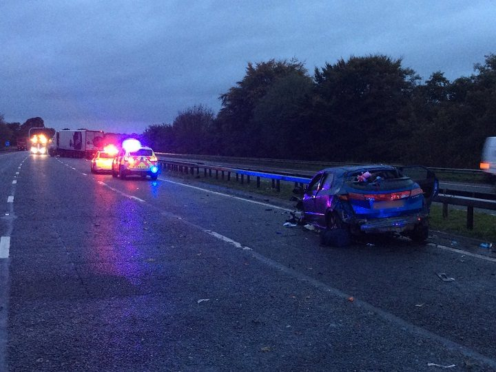 Scene of the crash between Junction 32 and 33 Pic: LancsRoadPolice