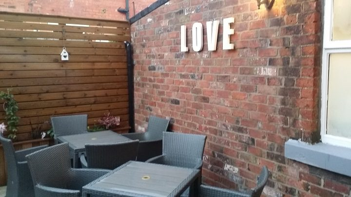 The outdoor seating area at the cafe