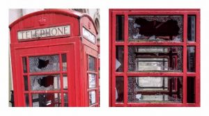 The iconic phone box was left damaged sometime between Friday evening and Saturday morning Pic: Alf Myers