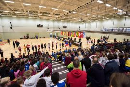 Crowds watching the Preston School Games