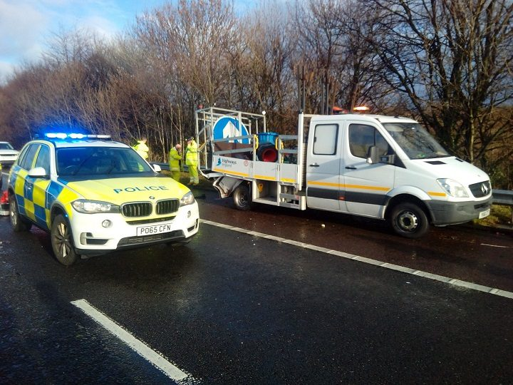 The maintenance van had been on the hard shoulder Pic: Lancs Road Police