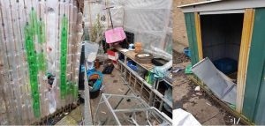 The damage done at the Moor Nook garden Pic: Preston Police