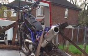 The motorbike sized off Pope Lane
