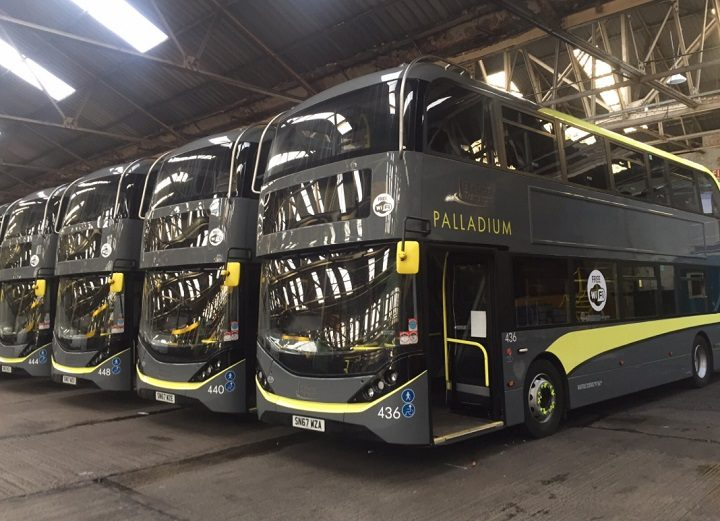 Some of the fleet of replacement buses Pic: Great North Rail Project