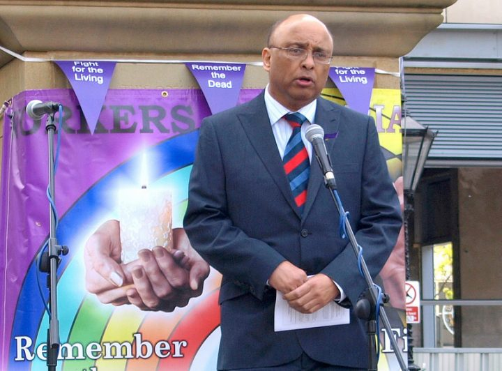 Mark Hendrick speaking at a Worker's Memorial Day in Preston Pic: Tony Worrall