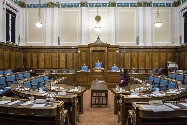 Inside the Preston City Council chamber at the Town Hall Pic: GuildMerchant