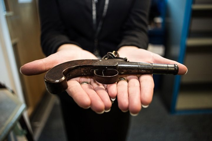 A black powder gun handed in