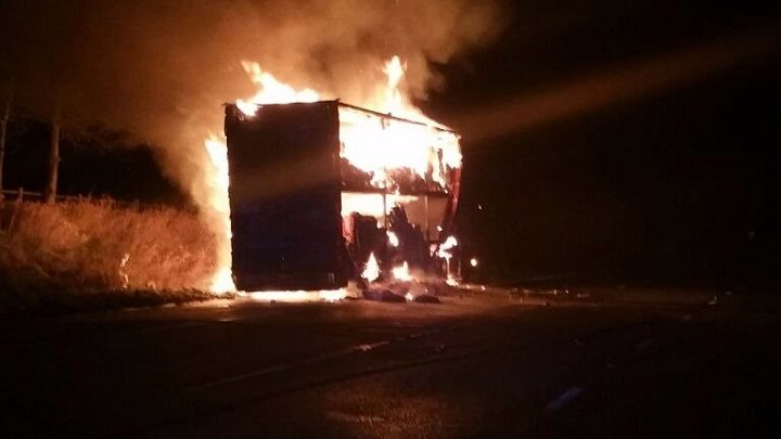 The lorry fire facing firefighters