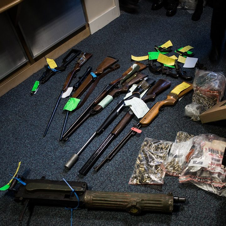 Some of the guns handed into Lancashire Police