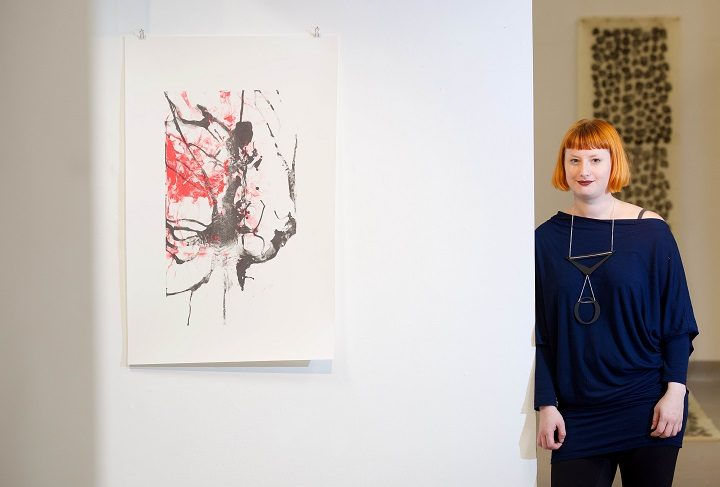 Jane Elizabeth Bennett with her artwork