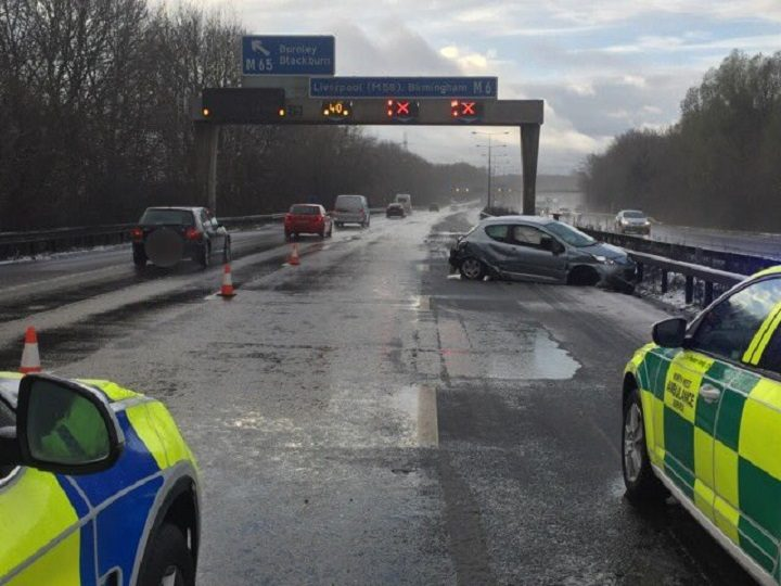 Scene on the M6 southbound at Junction 29 Pic: LancsRoadPolice