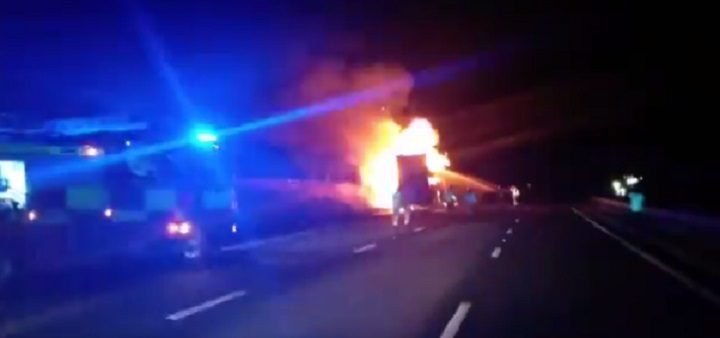 Lorry fire on the M6 at Preston Pic: LancsRoadPolice